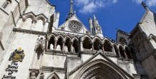 A close-up view of the Royal Courts of Justice in London, United Kingdom