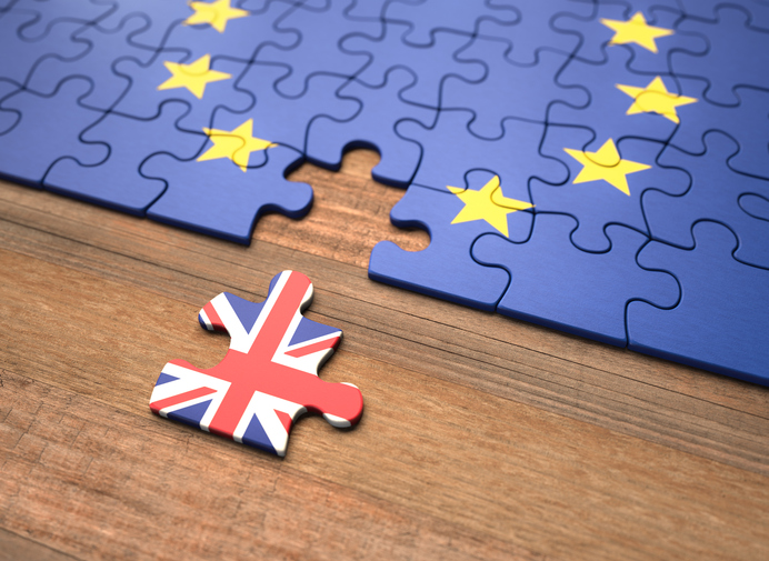 A puzzle that alludes to the UK as the missing piece of the puzzle that makes up the European Union