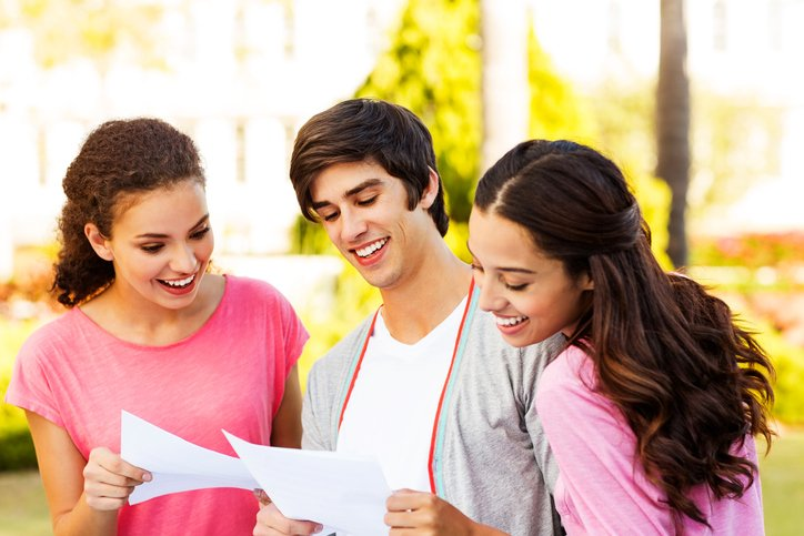 Students find out their results and look at them together